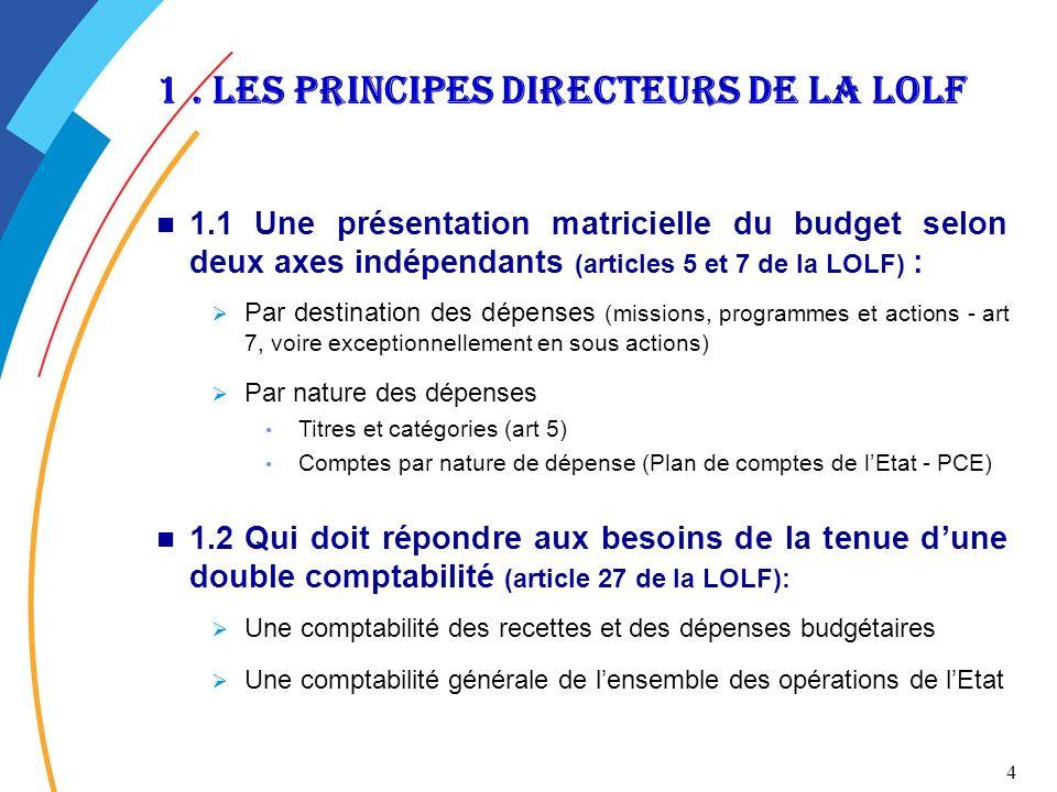 4 1. Les principes directeurs de la lolf 1.1 Une présentation matricielle du budget selon deux axes indépendants (articles 5 et 7 de la LOLF) : Par de