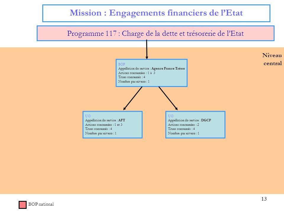 13 Niveau central Mission : Engagements financiers de lEtat Programme 117 : Charge de la dette et trésorerie de lEtat BOP Appellation du service : Age