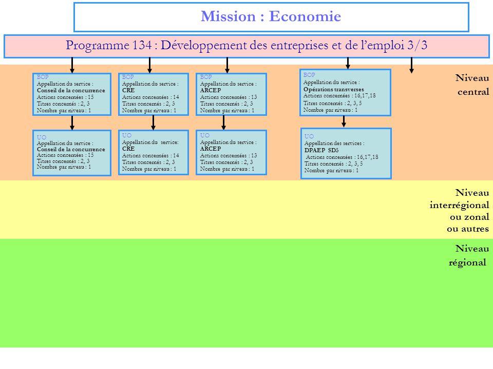 17 Niveau régional Niveau interrégional ou zonal ou autres Niveau central Mission : Economie Programme 134 : Développement des entreprises et de lempl