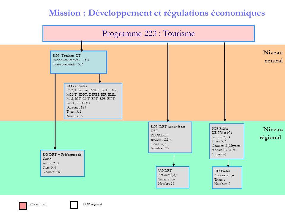 Niveau régional Niveau central Mission : Développement et régulations économiques Programme 223 : Tourisme BOP Tourisme DT Actions concernées : 1 à 4