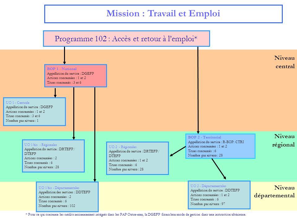 6 Mission : Travail et emploi Programme 103 : Accompagnement des mutations économiques et développement de lemploi Le programme est décliné : -en un BOP central DGEFP associé à une UO DGEFP, 28 UO régionales et 97 UO départementales.