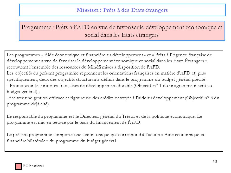 53 Mission : Prêts à des Etats étrangers Programme : Prêts à lAFD en vue de favoriser le développement économique et social dans les Etats étrangers B
