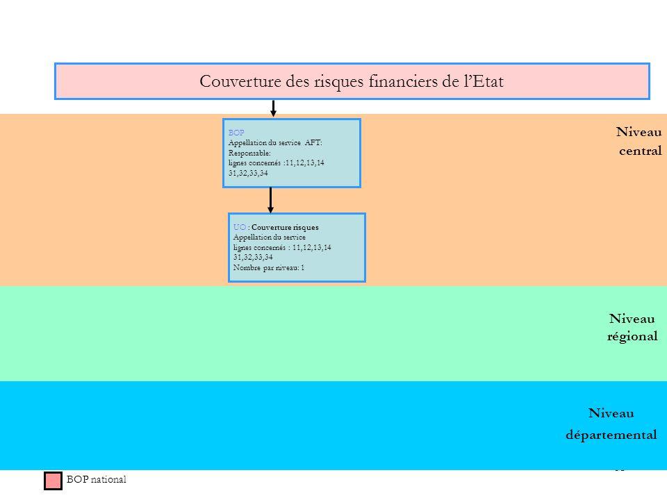 63 Niveau régional Niveau central Couverture des risques financiers de lEtat BOP national BOP Appellation du service AFT: Responsable: lignes concerné