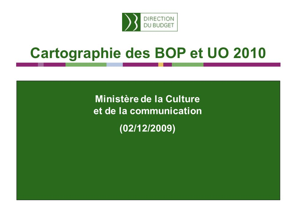 Cartographie des BOP et UO 2010 Ministère de la Culture et de la communication (02/12/2009)