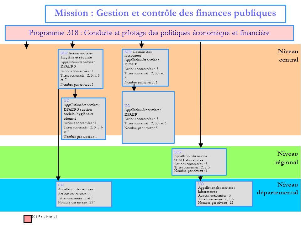 Niveau central Et le BOP actions innovantes Mission : Gestion et contrôle des finances publiques Programme 318 : Conduite et pilotage des politiques é