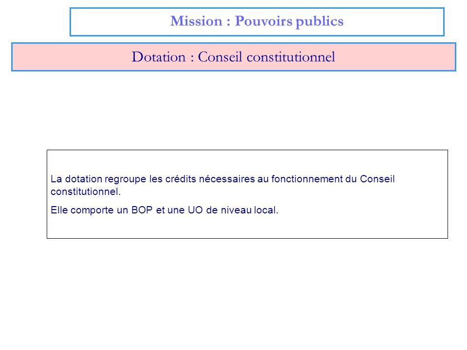 Mission : Pouvoirs publics Dotation : Conseil constitutionnel La dotation regroupe les crédits nécessaires au fonctionnement du Conseil constitutionne