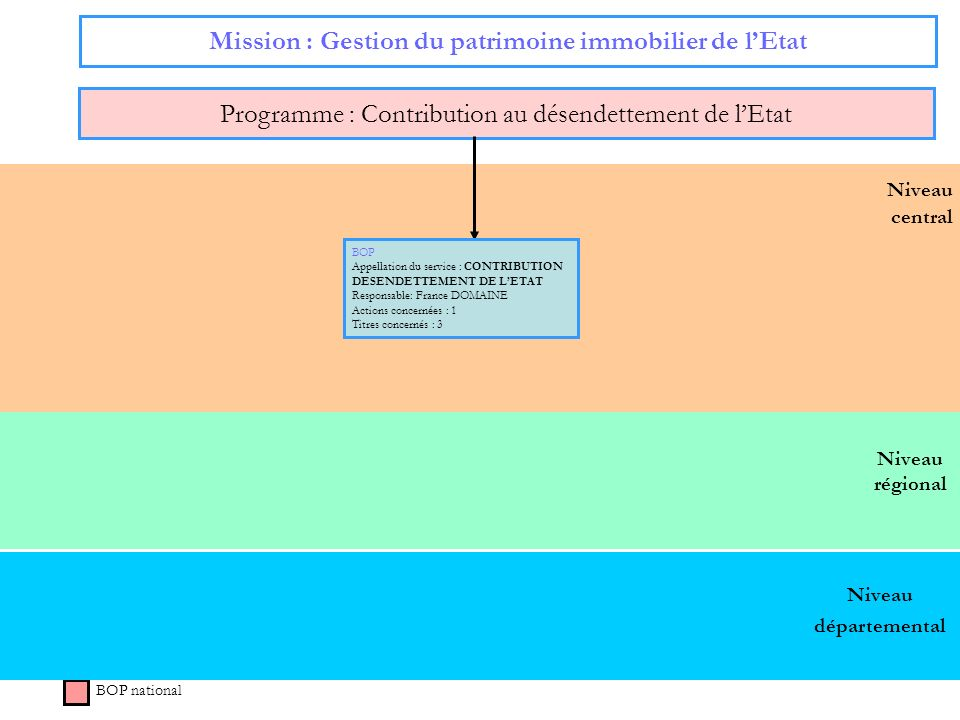 Niveau régional Niveau central Mission : Gestion du patrimoine immobilier de lEtat Programme : Contribution au désendettement de lEtat BOP national BO