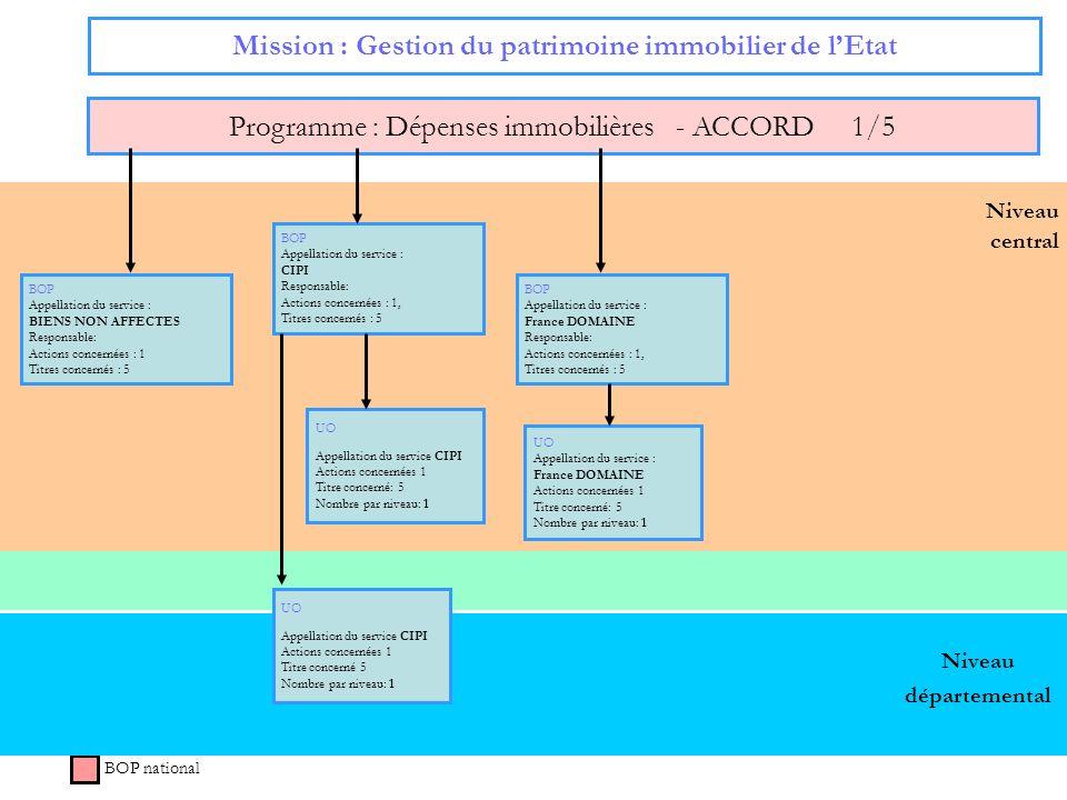 Niveau central Mission : Gestion du patrimoine immobilier de lEtat Programme : Dépenses immobilières - ACCORD 1/5 BOP national Niveau départemental BO