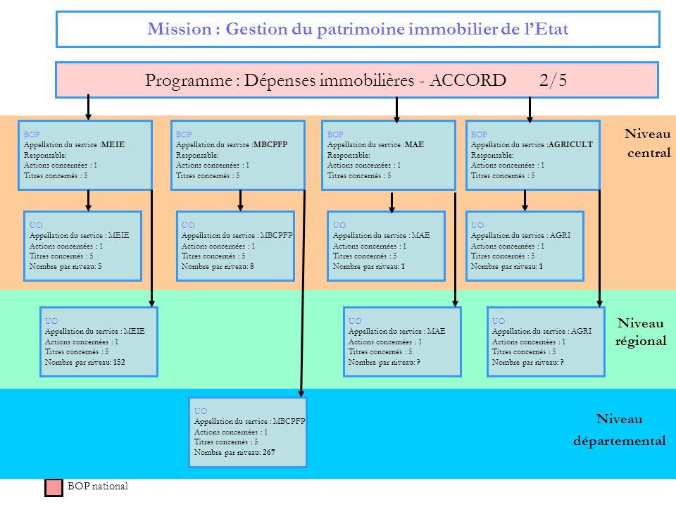 Niveau régional Niveau central Mission : Gestion du patrimoine immobilier de lEtat Programme : Dépenses immobilières - ACCORD 2/5 BOP national BOP App