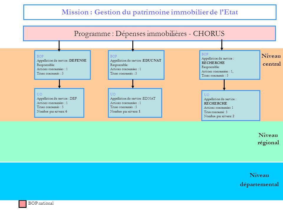 Niveau régional Niveau central Mission : Gestion du patrimoine immobilier de lEtat Programme : Dépenses immobilières - CHORUS BOP national Niveau dépa