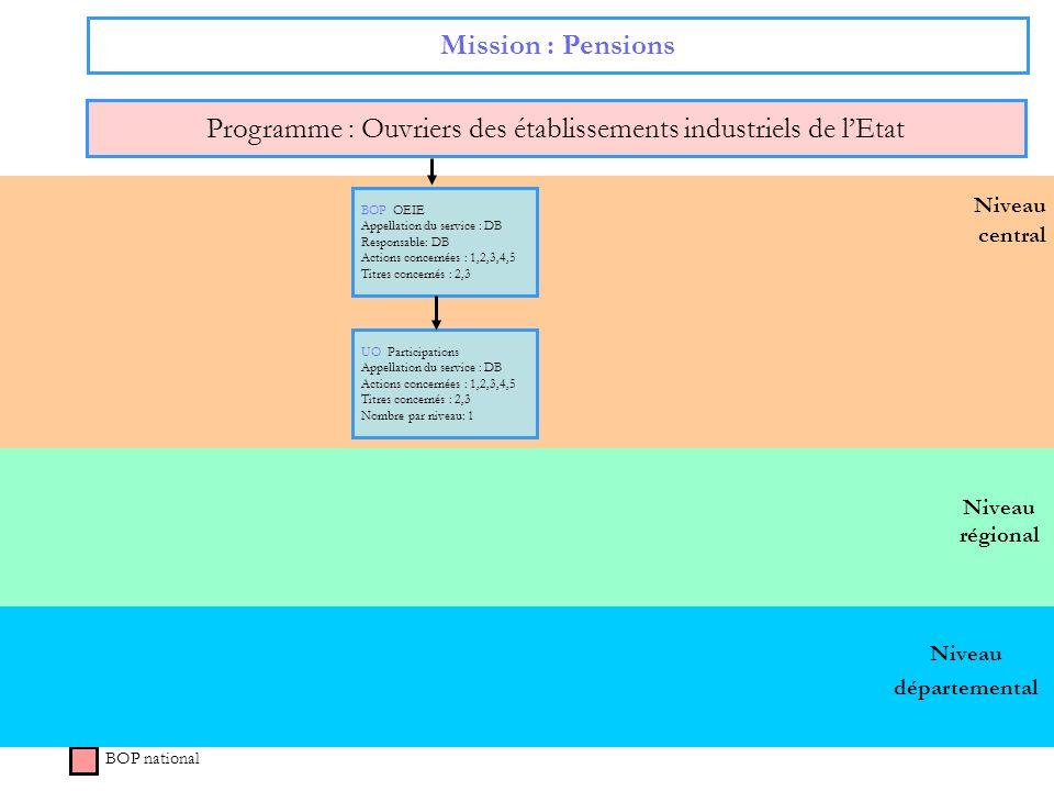 Niveau régional Niveau central Mission : Pensions Programme : Ouvriers des établissements industriels de lEtat BOP national Niveau départemental BOP O