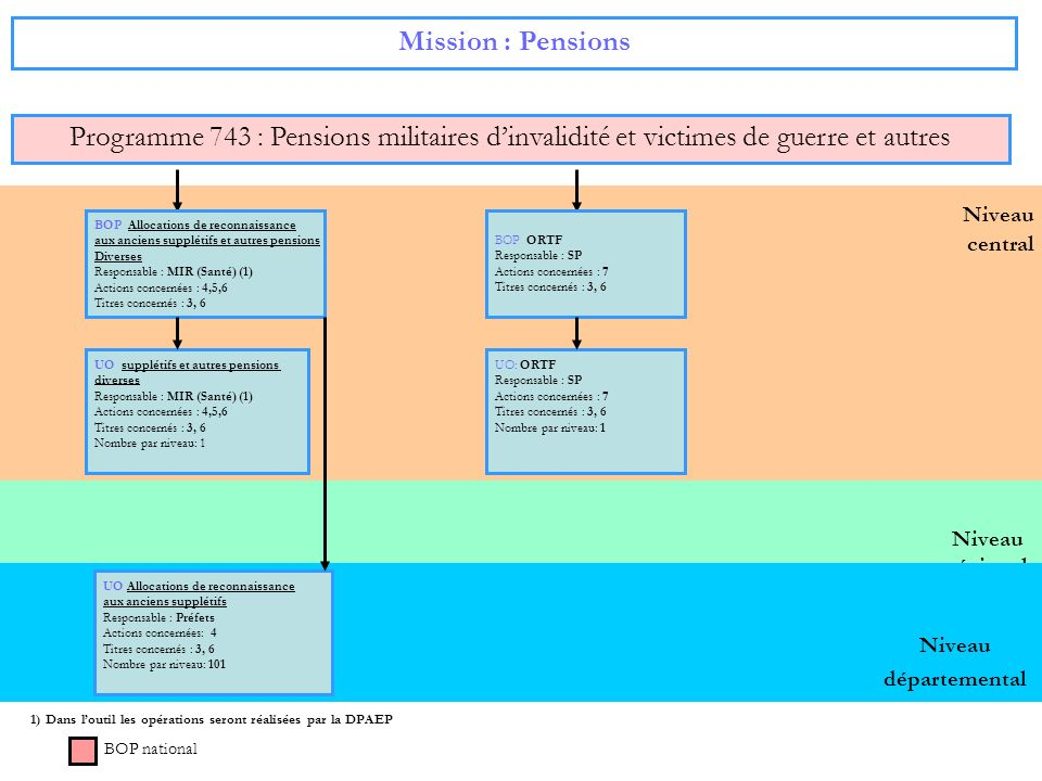 Niveau régional Niveau central Mission : Pensions Programme 743 : Pensions militaires dinvalidité et victimes de guerre et autres BOP national BOP All
