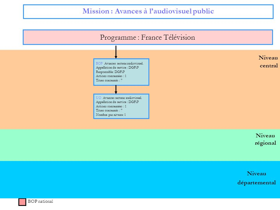 Niveau régional Niveau central Mission : Avances à laudiovisuel public Programme : France Télévision BOP national BOP Avances secteur audiovisuel. App
