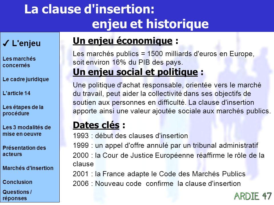 La clause d insertion: enjeu et historique Un enjeu économique : Les marchés publics = 1500 milliards d euros en Europe, soit environ 16% du PIB des pays.