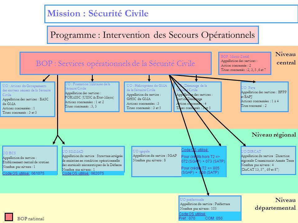 12 Niveau régional Niveau départemental Niveau central Mission : Sécurité Civile BOP national UO : Déminage de la Sécurité Civile Appellation des serv