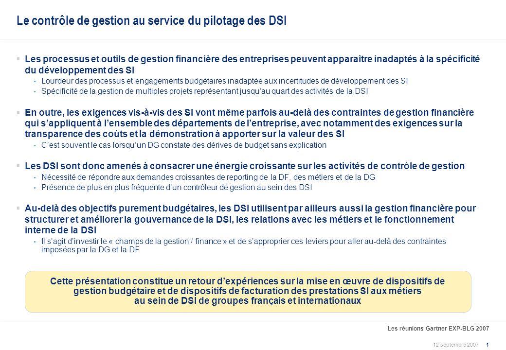 Le contrôle de gestion au service du pilotage de la DSI Retour dexpériences Marc Lotito (ASK Conseil) Le 12 septembre 2007