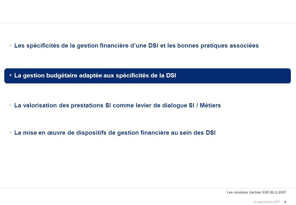 12 septembre 2007 Les réunions Gartner EXP-BLG 2007 8 ConstatsElts de réflexion et bonnes pratiques « (…), pour 84 % des directeurs financiers et 74 %