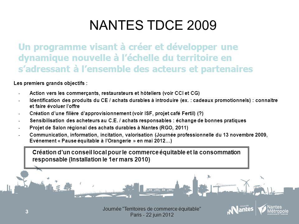 Journée Territoires de commerce équitable Paris - 22 juin 2012 3 NANTES TDCE 2009 -Action vers les commerçants, restaurateurs et hôteliers (voir CCI et CG) -Identification des produits du CE / achats durables à introduire (ex.
