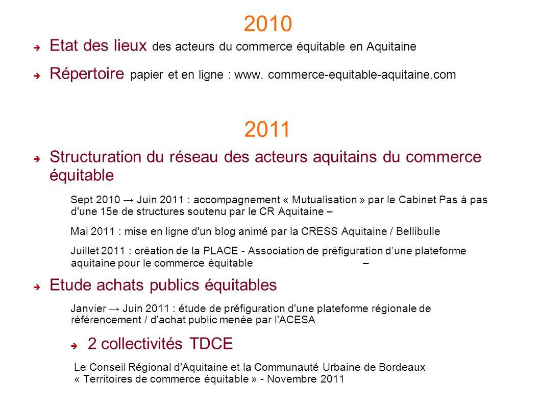 3 Etat des lieux des acteurs du commerce équitable en Aquitaine Répertoire papier et en ligne : www. commerce-equitable-aquitaine.com Structuration du