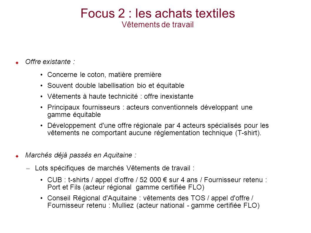 Focus 2 : les achats textiles Vêtements de travail Offre existante : Concerne le coton, matière première Souvent double labellisation bio et équitable Vêtements à haute technicité : offre inexistante Principaux fournisseurs : acteurs conventionnels développant une gamme équitable Développement d une offre régionale par 4 acteurs spécialisés pour les vêtements ne comportant aucune réglementation technique (T-shirt).