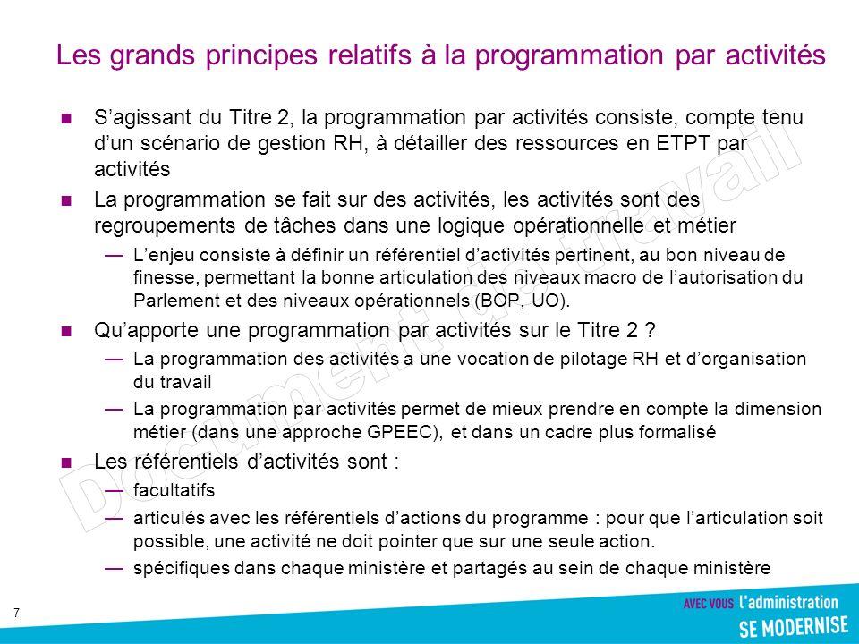7 Les grands principes relatifs à la programmation par activités Sagissant du Titre 2, la programmation par activités consiste, compte tenu dun scénar
