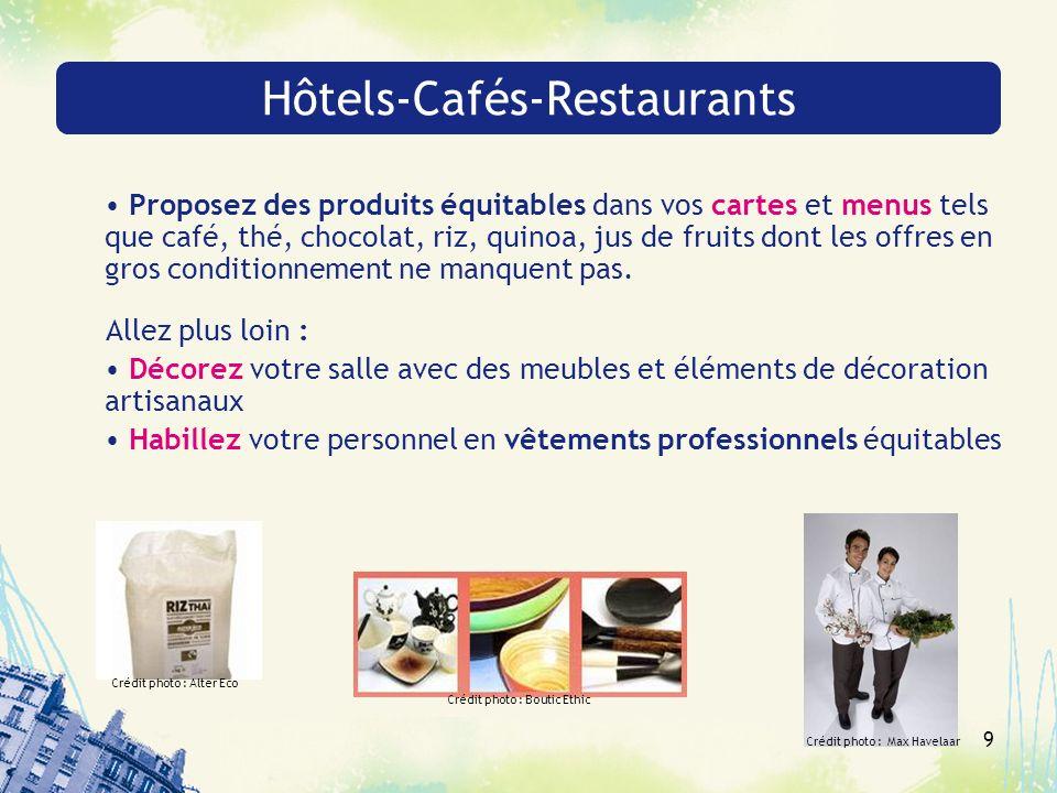9 Hôtels-Cafés-Restaurants Proposez des produits équitables dans vos cartes et menus tels que café, thé, chocolat, riz, quinoa, jus de fruits dont les offres en gros conditionnement ne manquent pas.
