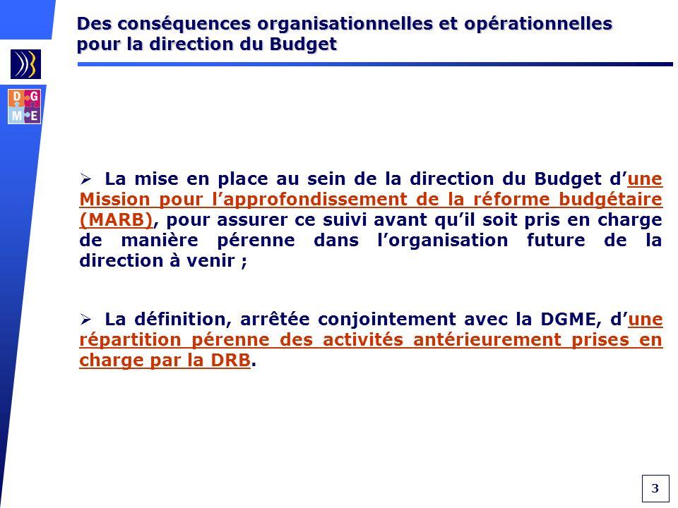3 Des conséquences organisationnelles et opérationnelles pour la direction du Budget La mise en place au sein de la direction du Budget dune Mission pour lapprofondissement de la réforme budgétaire (MARB), pour assurer ce suivi avant quil soit pris en charge de manière pérenne dans lorganisation future de la direction à venir ; La définition, arrêtée conjointement avec la DGME, dune répartition pérenne des activités antérieurement prises en charge par la DRB.