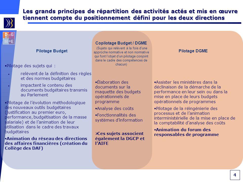 5 Le détail de la répartition des activités concerne non seulement le Budget et la DGME, mais tient compte également de la DGCP et de lAIFE Élaboration de la méthodologie, discussion avec les ministères sur les objectifs/indicateurs, élaboration des DPT, communication vers le Parlement, le CIAP et la Cour des comptes, formation.