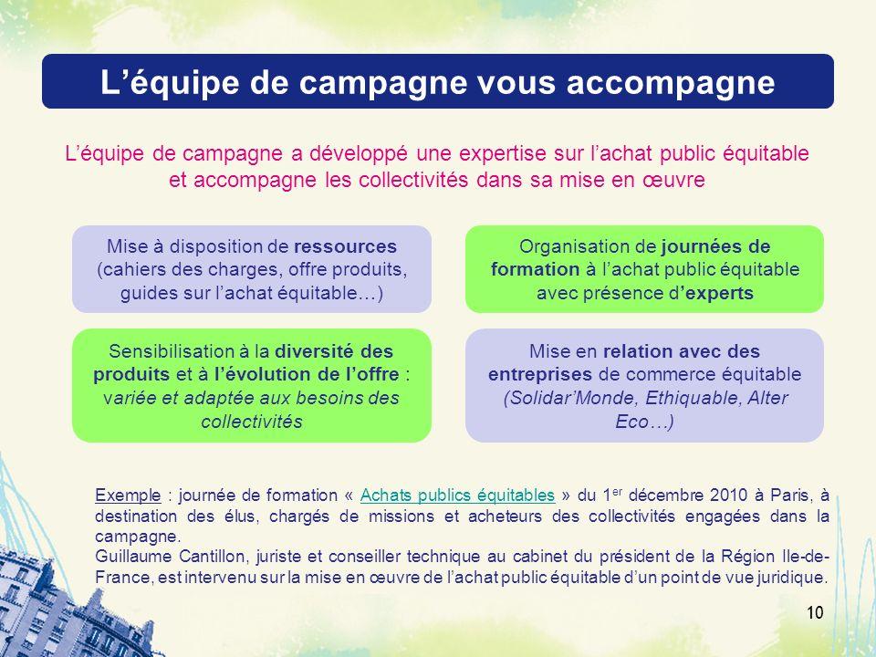 Léquipe de campagne vous accompagne 10 Léquipe de campagne a développé une expertise sur lachat public équitable et accompagne les collectivités dans