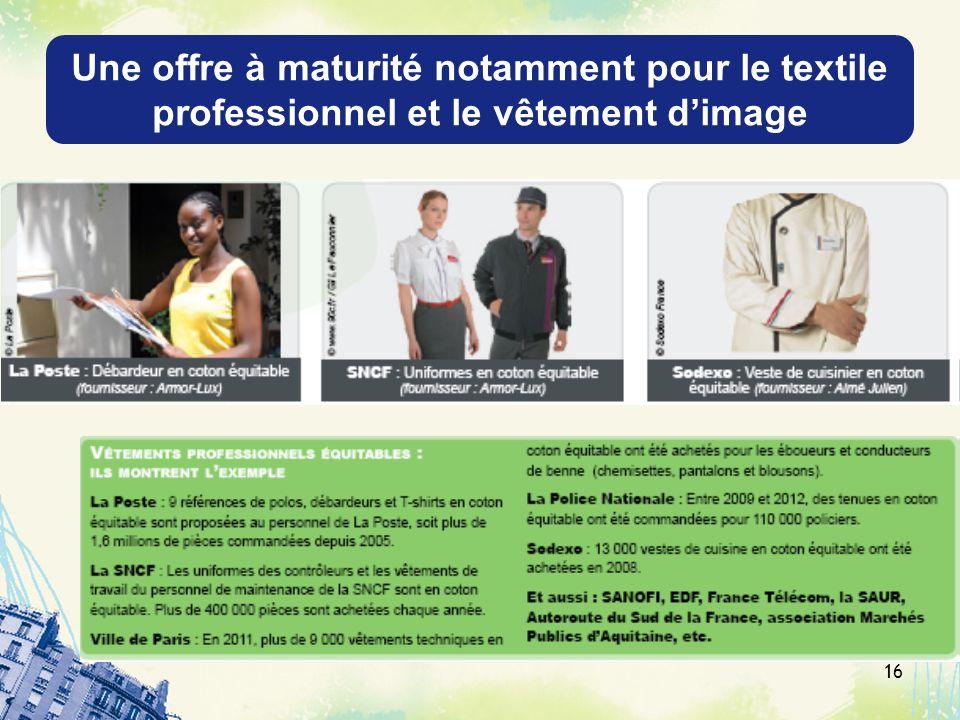 Une offre à maturité notamment pour le textile professionnel et le vêtement dimage 16