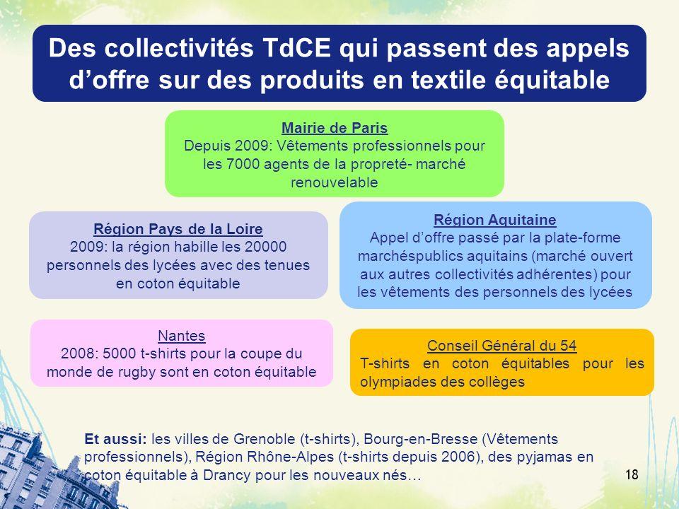 Des collectivités TdCE qui passent des appels doffre sur des produits en textile équitable Région Aquitaine Appel doffre passé par la plate-forme marc