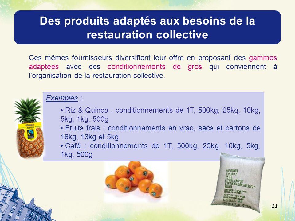 Des produits adaptés aux besoins de la restauration collective Ces mêmes fournisseurs diversifient leur offre en proposant des gammes adaptées avec de