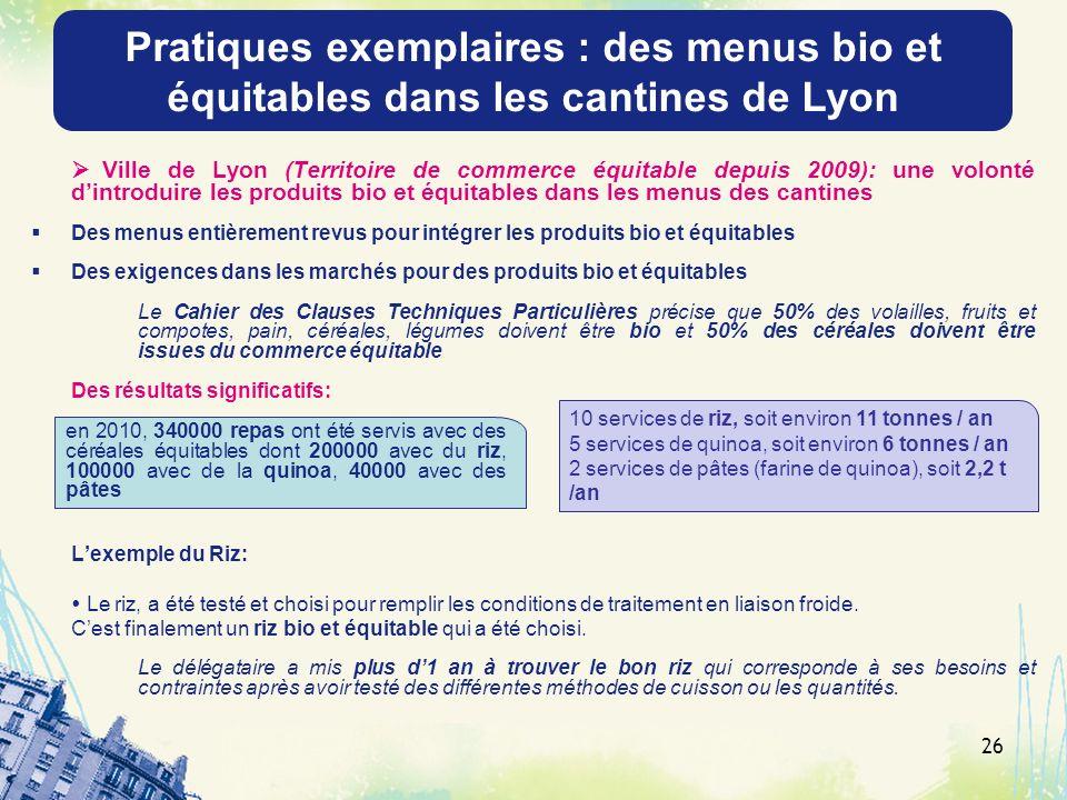 26 Ville de Lyon (Territoire de commerce équitable depuis 2009): une volonté dintroduire les produits bio et équitables dans les menus des cantines De