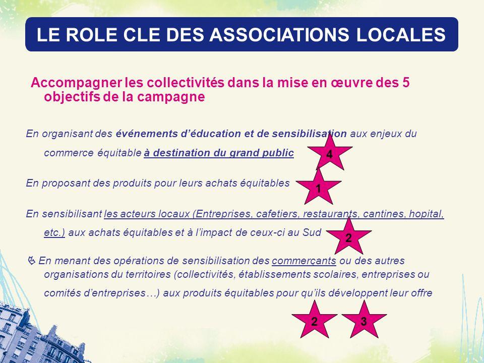 LE ROLE DES RESEAUX LOCAUX Accompagner les collectivités dans la mise en œuvre des 5 objectifs de la campagne En organisant des événements déducation