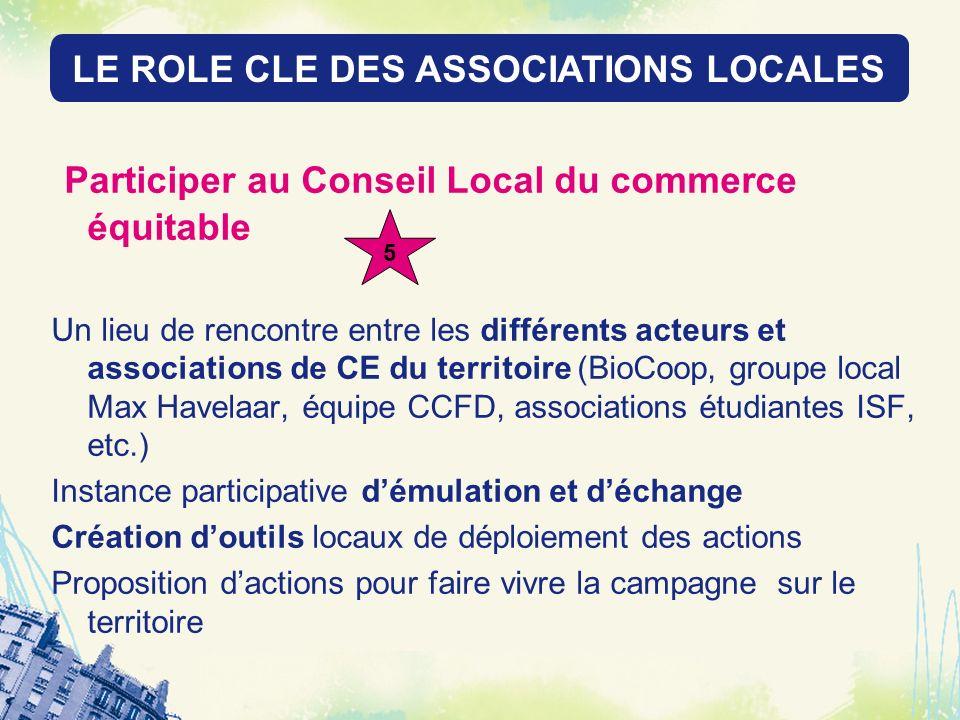 LE ROLE DES RESEAUX LOCAUX Participer au Conseil Local du commerce équitable Un lieu de rencontre entre les différents acteurs et associations de CE d