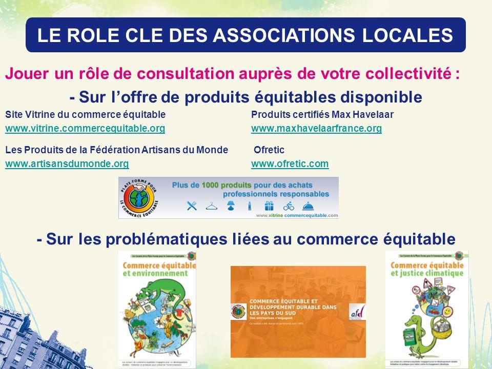 LE ROLE DES RESEAUX LOCAUX Jouer un rôle de consultation auprès de votre collectivité : - Sur loffre de produits équitables disponible Site Vitrine du