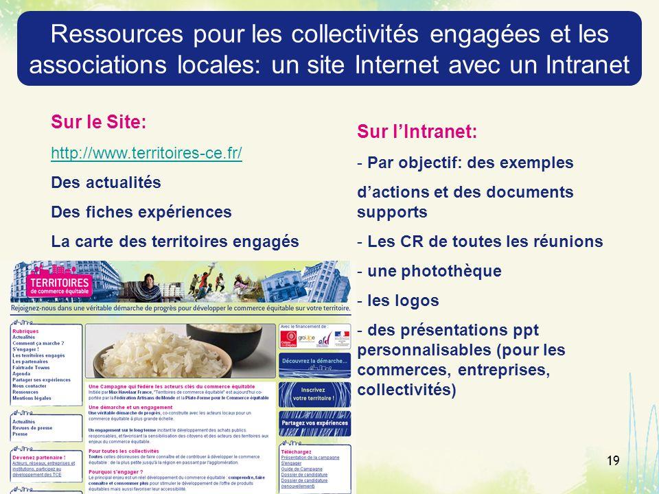19 Ressources pour les collectivités engagées et les associations locales: un site Internet avec un Intranet Sur le Site: http://www.territoires-ce.fr