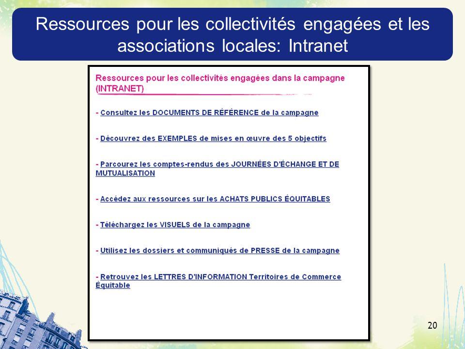 20 Ressources pour les collectivités engagées et les associations locales: Intranet