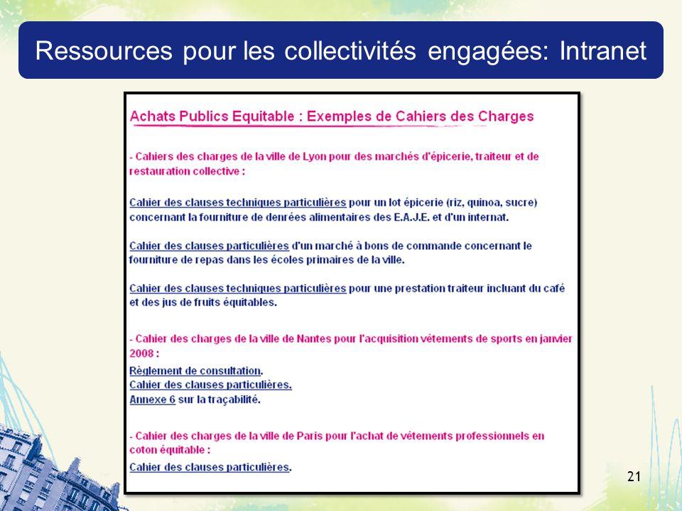 21 Ressources pour les collectivités engagées: Intranet