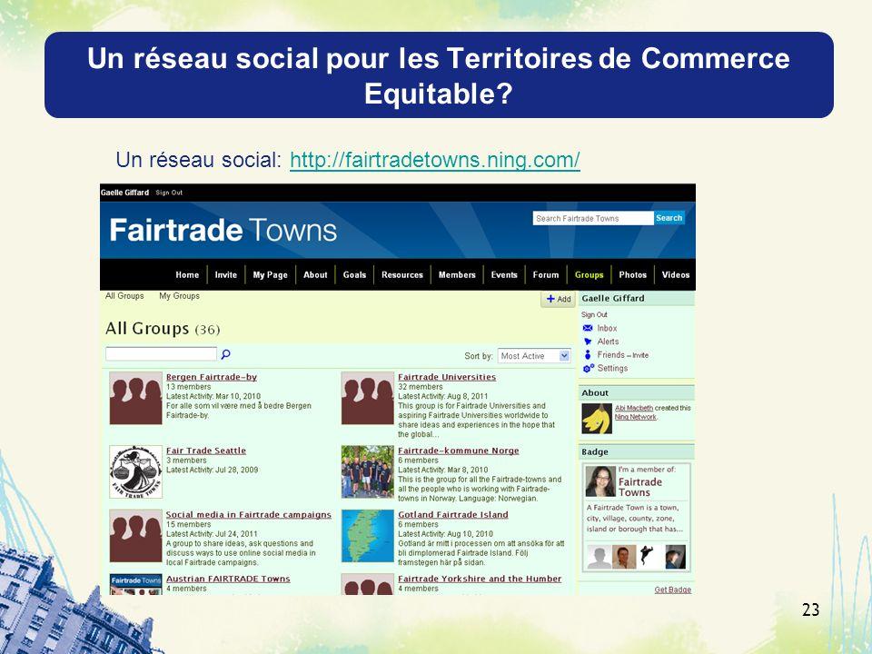 Un réseau social pour les Territoires de Commerce Equitable? 23 Un réseau social: http://fairtradetowns.ning.com/http://fairtradetowns.ning.com/