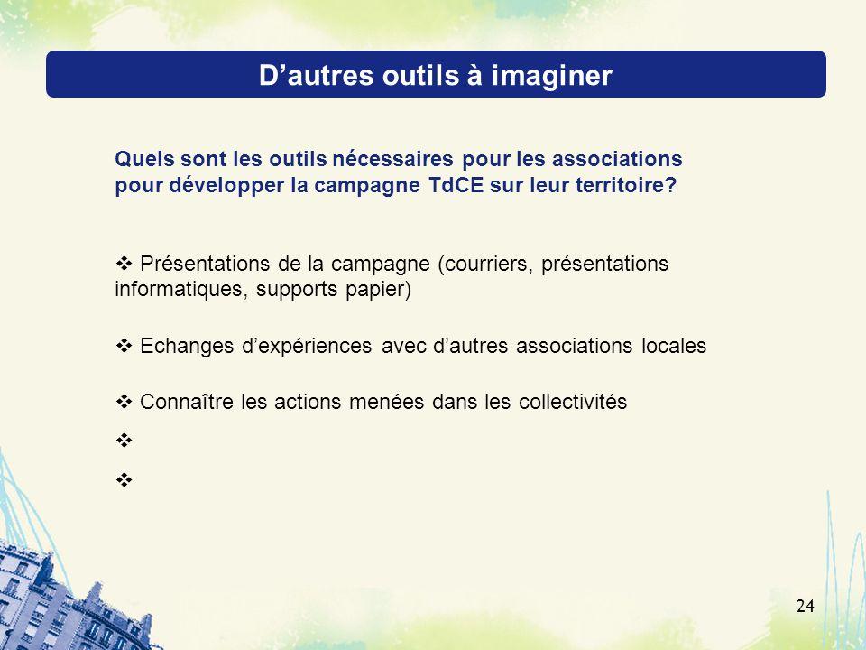 Dautres outils à imaginer 24 Quels sont les outils nécessaires pour les associations pour développer la campagne TdCE sur leur territoire? Présentatio