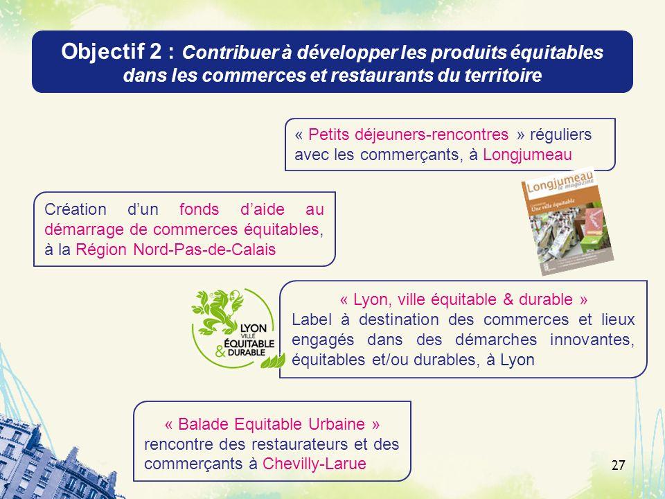 Objectif 2 : Contribuer à développer les produits équitables dans les commerces et restaurants du territoire 27 « Petits déjeuners-rencontres » réguli