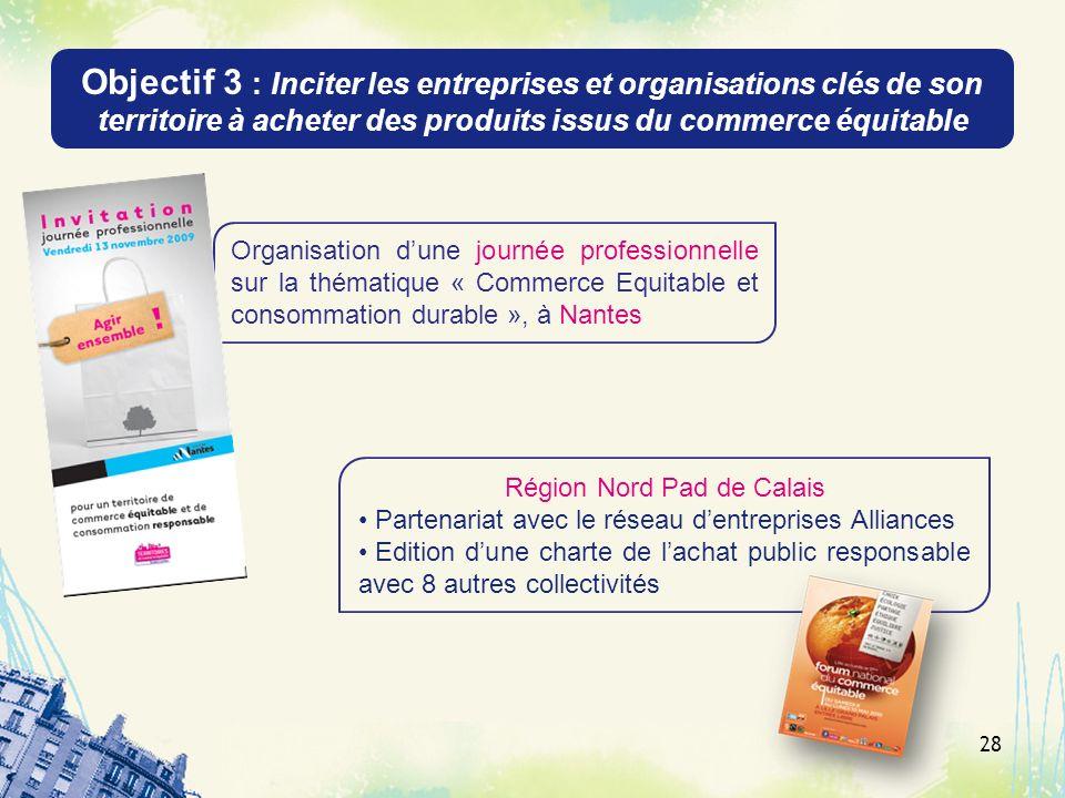 Objectif 3 : Inciter les entreprises et organisations clés de son territoire à acheter des produits issus du commerce équitable 28 Organisation dune j