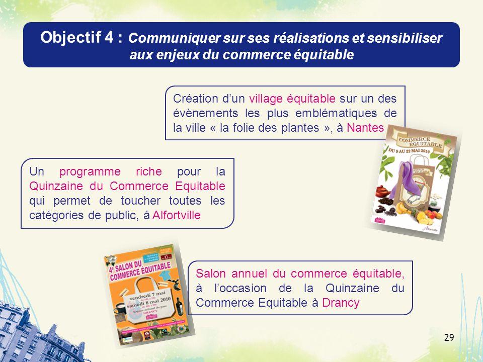 Objectif 4 : Communiquer sur ses réalisations et sensibiliser aux enjeux du commerce équitable 29 Création dun village équitable sur un des évènements