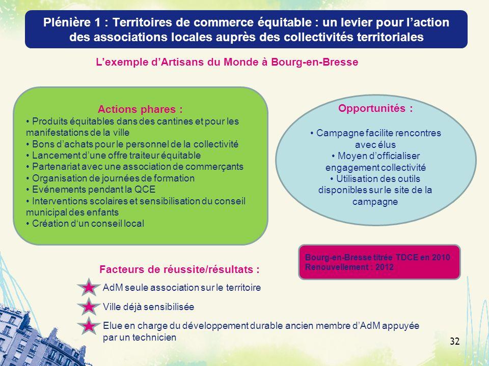 Plénière 1 : Territoires de commerce équitable : un levier pour laction des associations locales auprès des collectivités territoriales 32 Actions pha