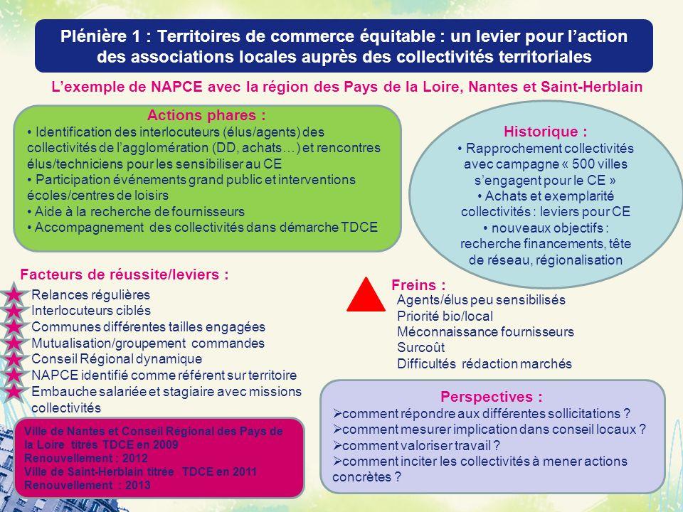 Plénière 1 : Territoires de commerce équitable : un levier pour laction des associations locales auprès des collectivités territoriales 33 Actions pha