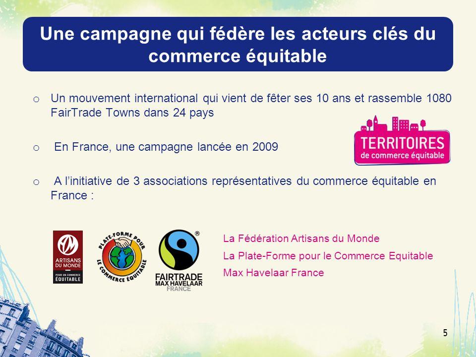 Une campagne qui fédère les acteurs clés du commerce équitable o Un mouvement international qui vient de fêter ses 10 ans et rassemble 1080 FairTrade