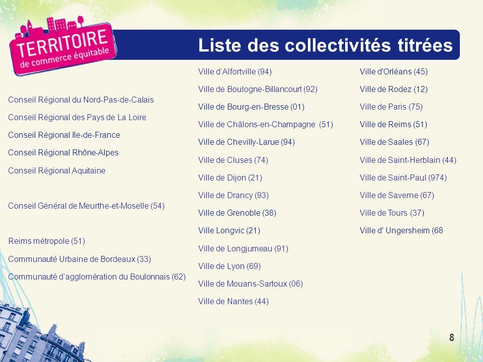 Liste des collectivités titrées Conseil Régional du Nord-Pas-de-Calais Conseil Régional des Pays de La Loire Conseil Régional Ile-de-France Conseil Ré