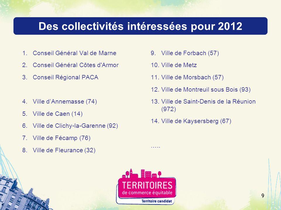 Des collectivités intéressées pour 2012 1.Conseil Général Val de Marne 2.Conseil Général Côtes d'Armor 3.Conseil Régional PACA 4.Ville dAnnemasse (74)