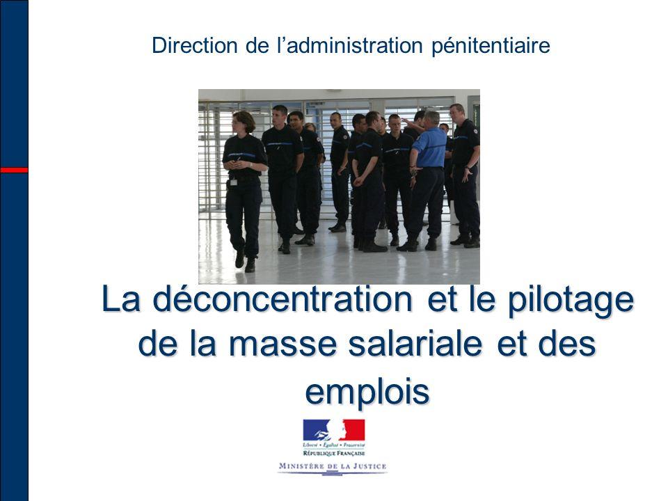 Direction de ladministration pénitentiaire La déconcentration et le pilotage de la masse salariale et des emplois